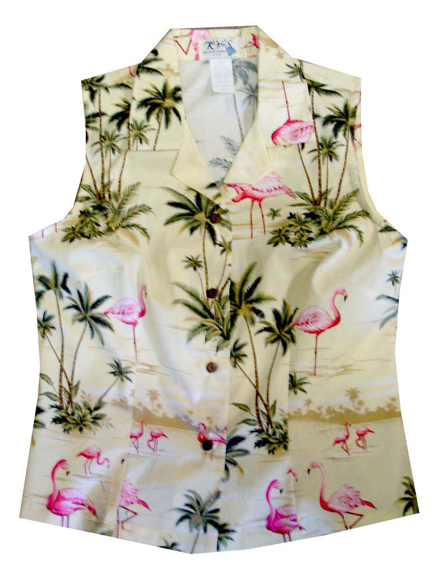 Flamingo Fashion Yellow Women's Sleeveless Hawaiian Shirt