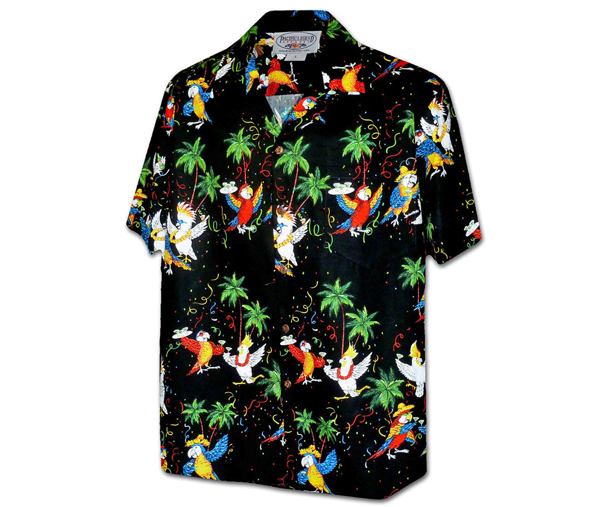 Parrots Like to Party Black Hawaiian Shirt