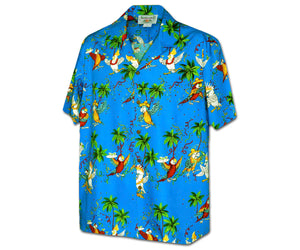Parrots Like to Party Blue Hawaiian Shirt