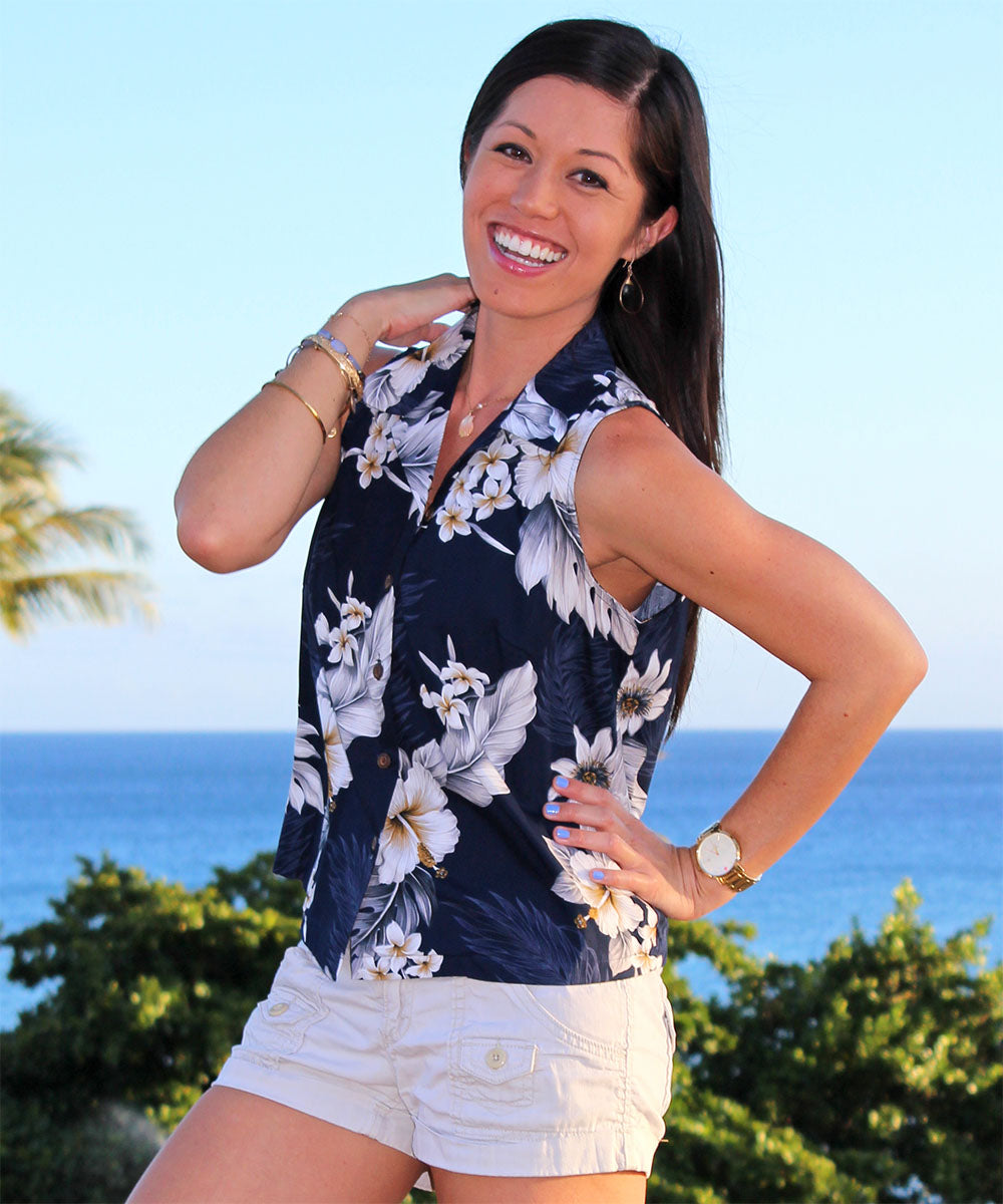 Luau Garden Navy Sleeveless Women's Hawaiian Shirt