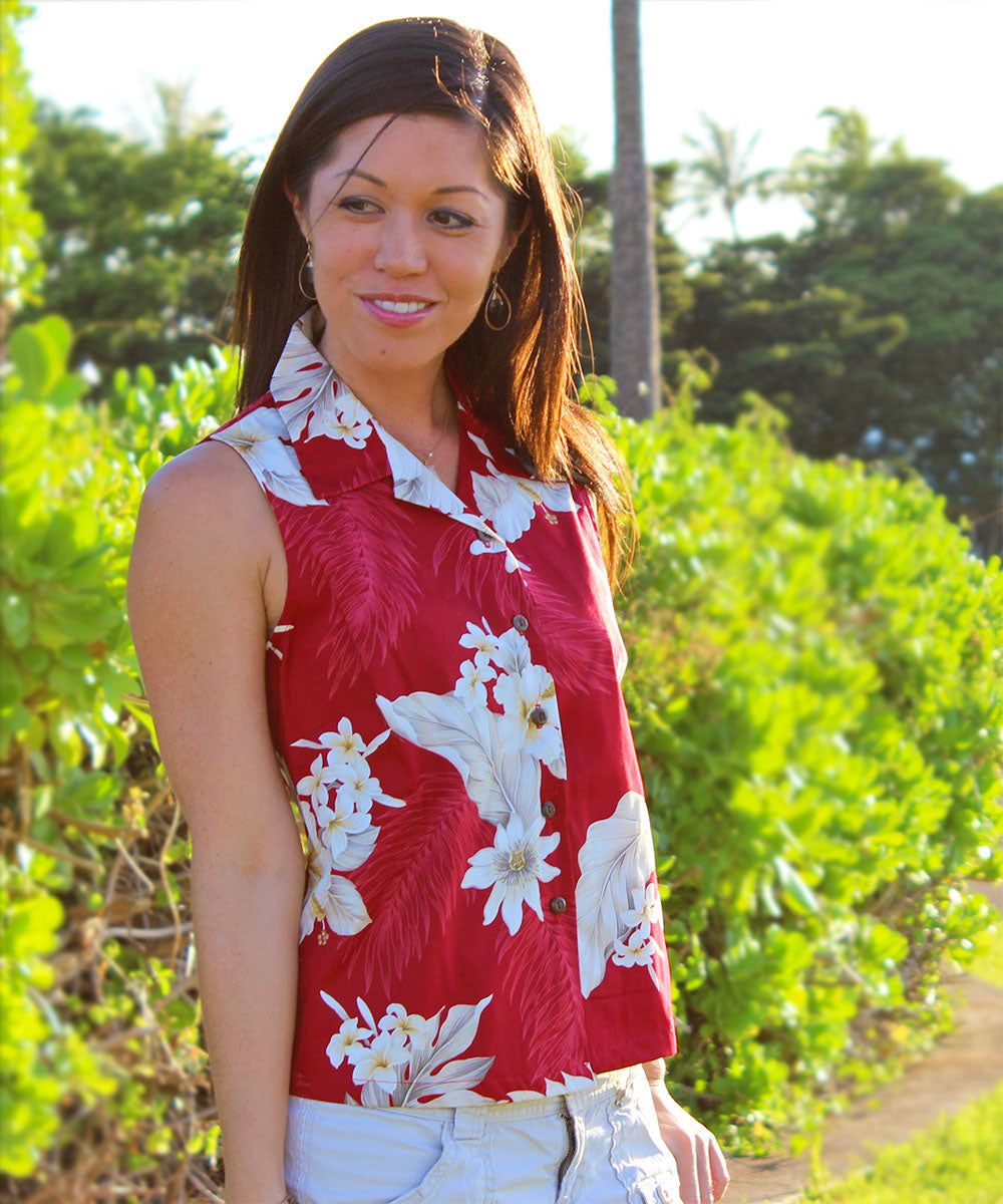 Luau Garden Red Sleeveless Women's Hawaiian Shirt