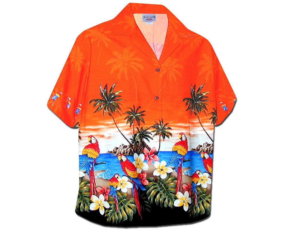 Macaw Madness Orange Women's Hawaiian Shirt