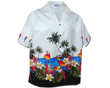 Macaw Madness White Women's Hawaiian Shirt