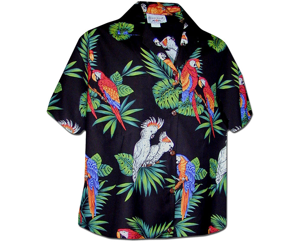 Parrot Jungle Black Women's Hawaiian Shirt