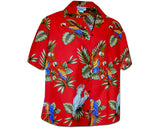 Parrot Jungle Red Women's Hawaiian Shirt