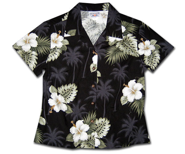 Kilauea Hibiscus Black Fitted Women's Hawaiian Shirt