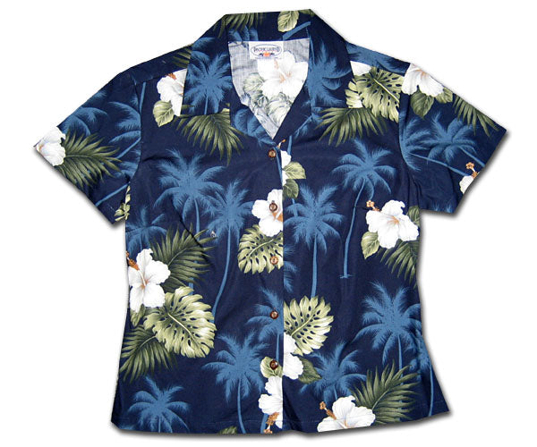 Kilauea Hibiscus Navy Fitted Women's Hawaiian Shirt