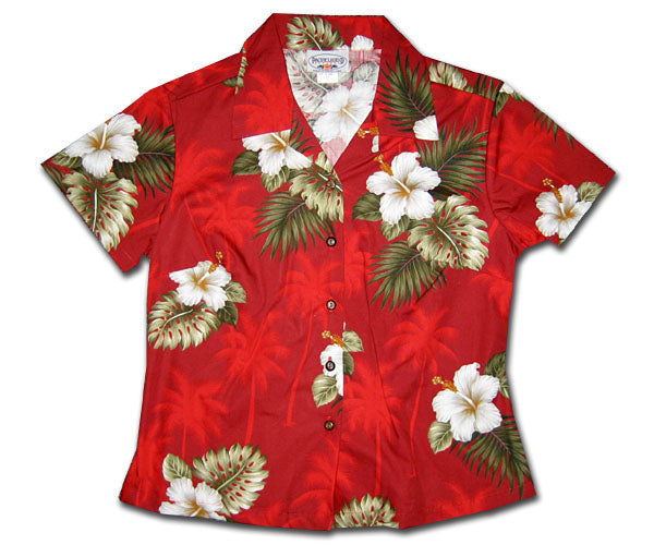 Kilauea Hibiscus Red Fitted Women's Hawaiian Shirt