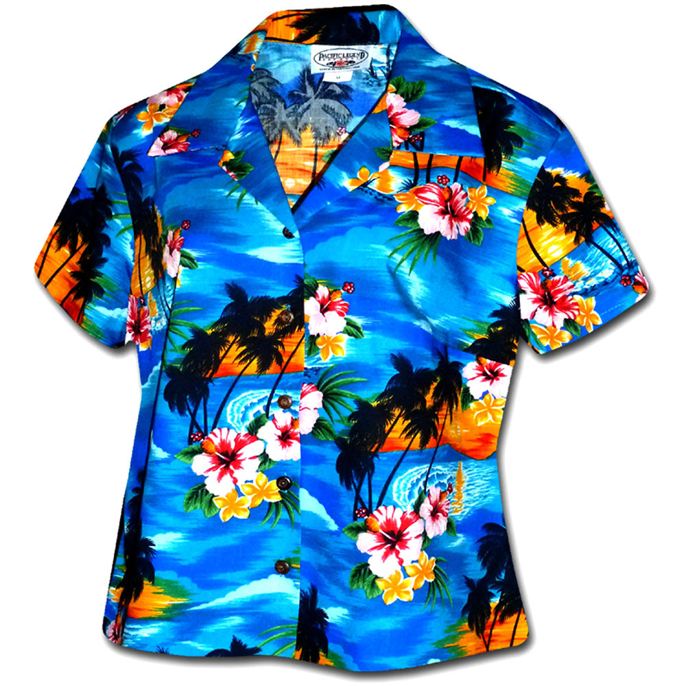 Searing Sunset Blue Fitted Women's Hawaiian Shirt