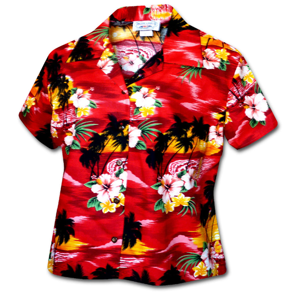 Waikiki Sunset Red Fitted Women's Hawaiian Shirt