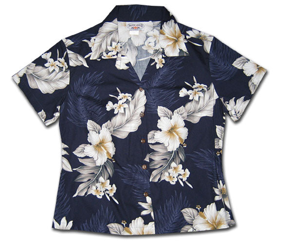Luau Garden Night Fitted Women's Hawaiian Shirt