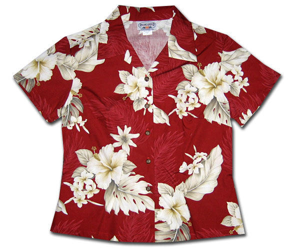 Luau Garden Fire Fitted Women's Hawaiian Shirt