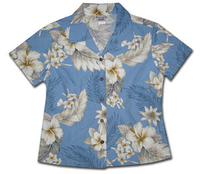 Luau Garden Sky Fitted Women's Hawaiian Shirt