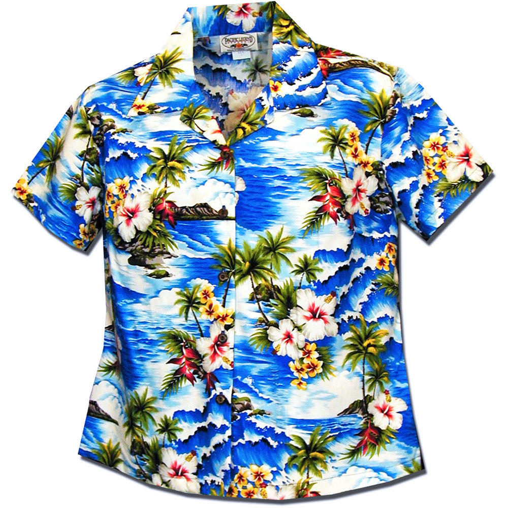 Diamond Head Coast Blue Women's Fitted Hawaiian Shirt