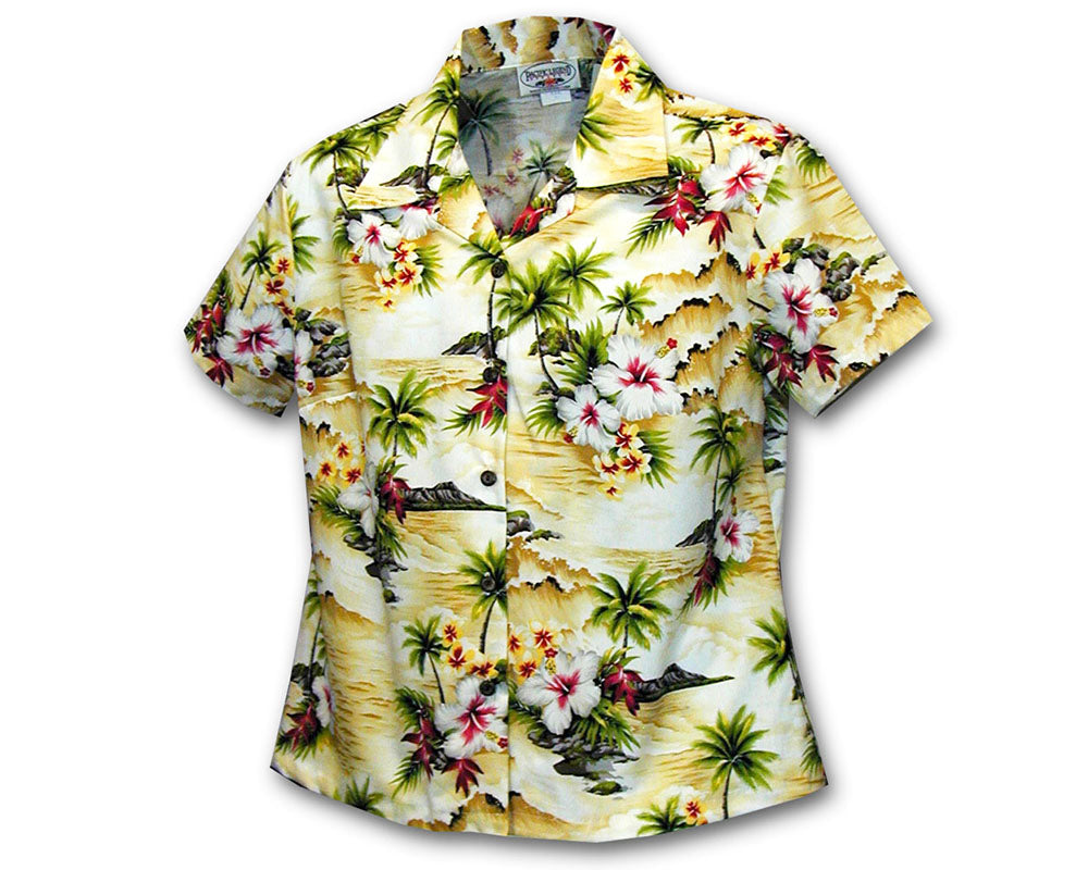 Waikiki Beach Maize Women's Fitted Hawaiian Shirt