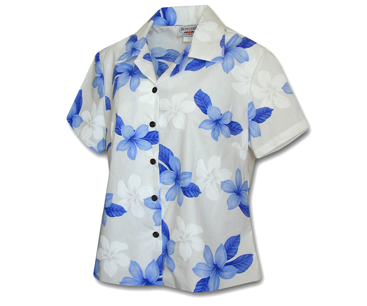 Morning Flower Blue Fitted Women's Hawaiian Shirt