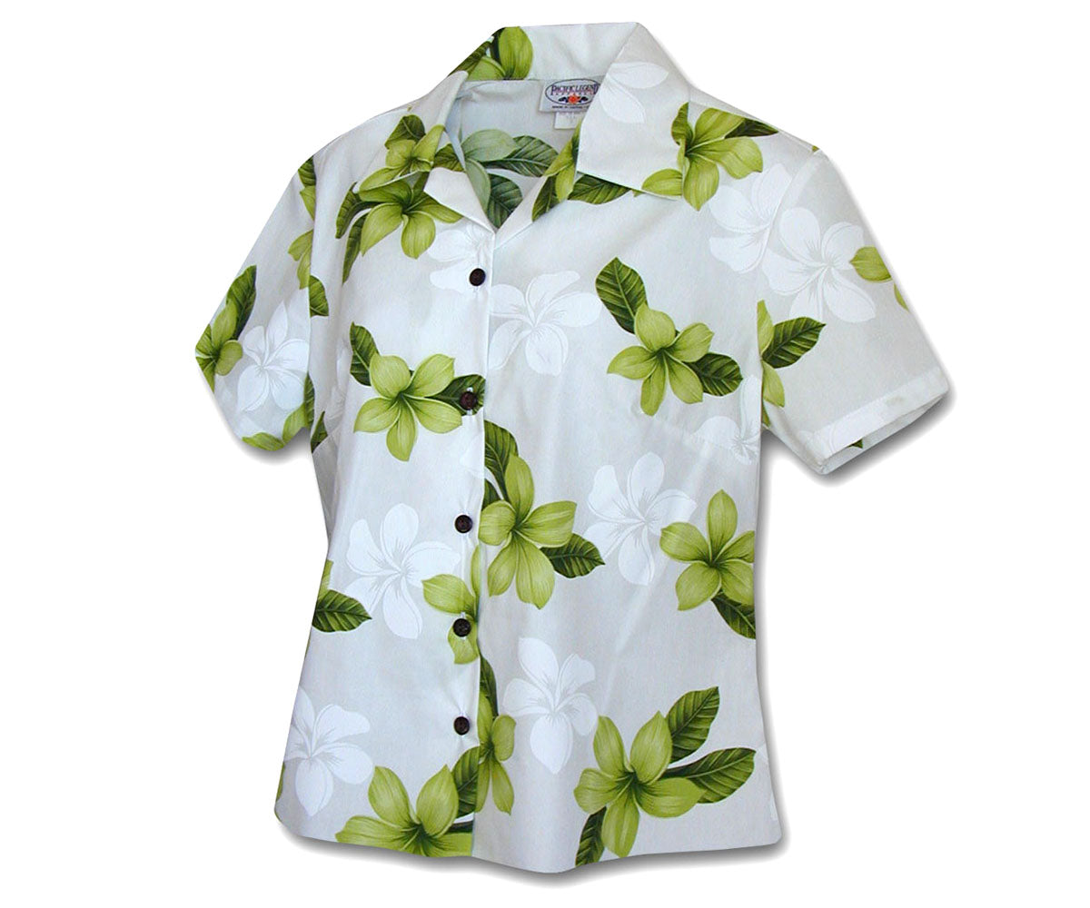 Morning Flower Green Fitted Women's Hawaiian Shirt
