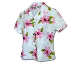 Morning Flower Pink Fitted Women's Hawaiian Shirt