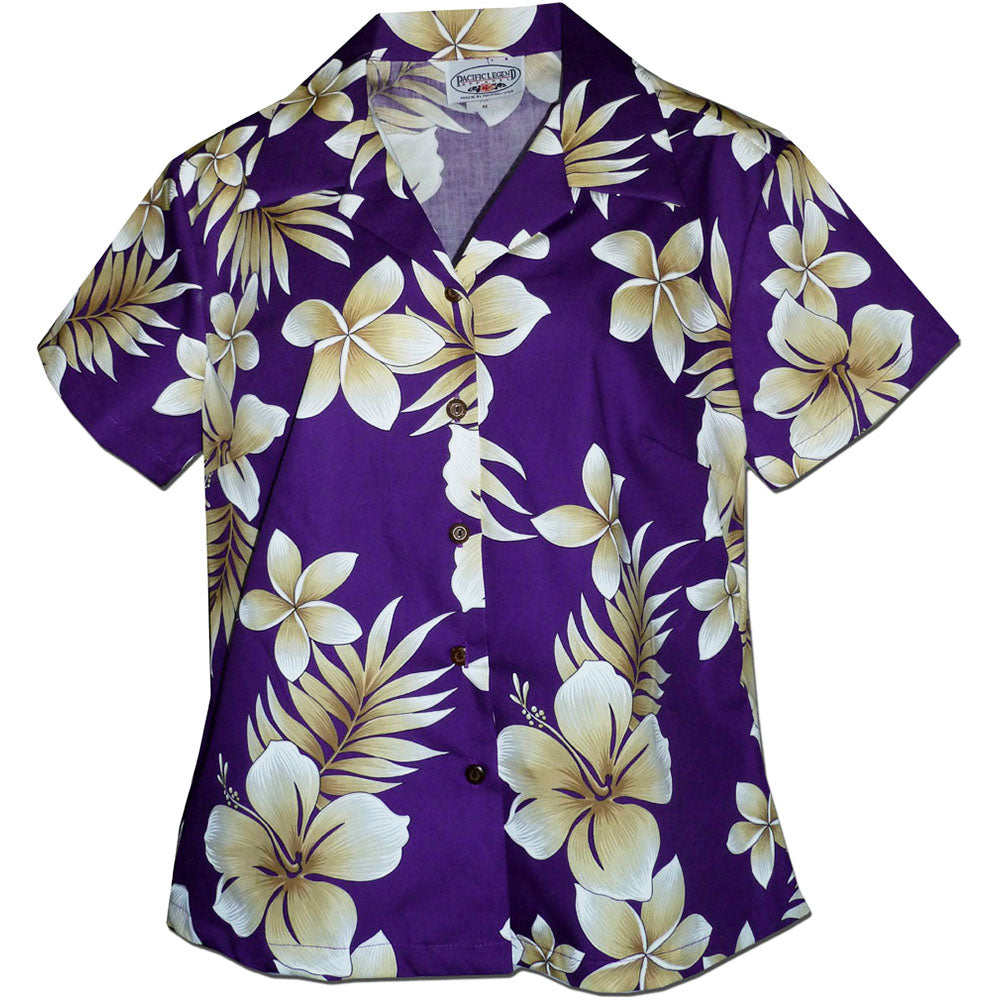 Tropic Hibiscus Purple Fitted Women's Hawaiian Shirt