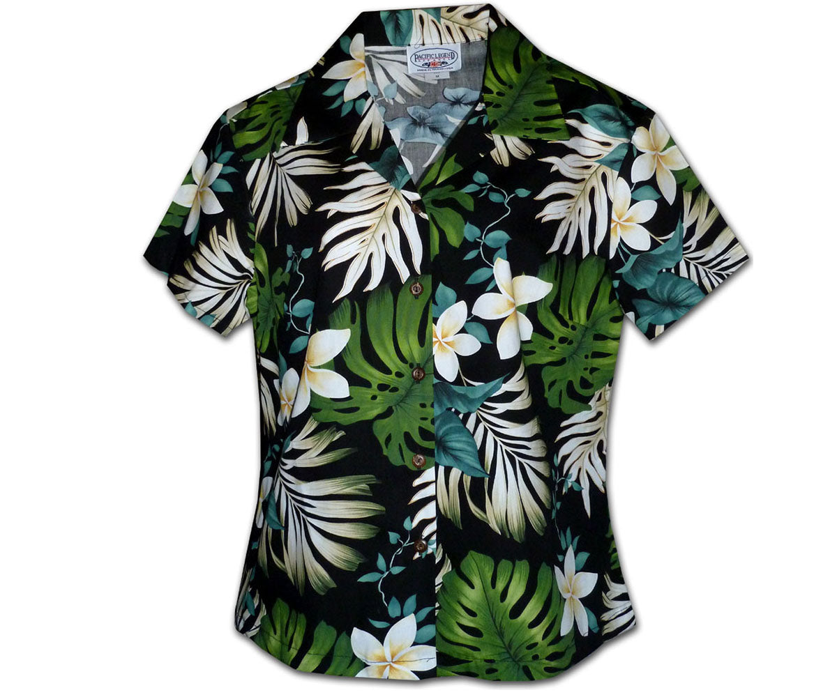 Monstera Monster Black Fitted Women's Hawaiian Shirt