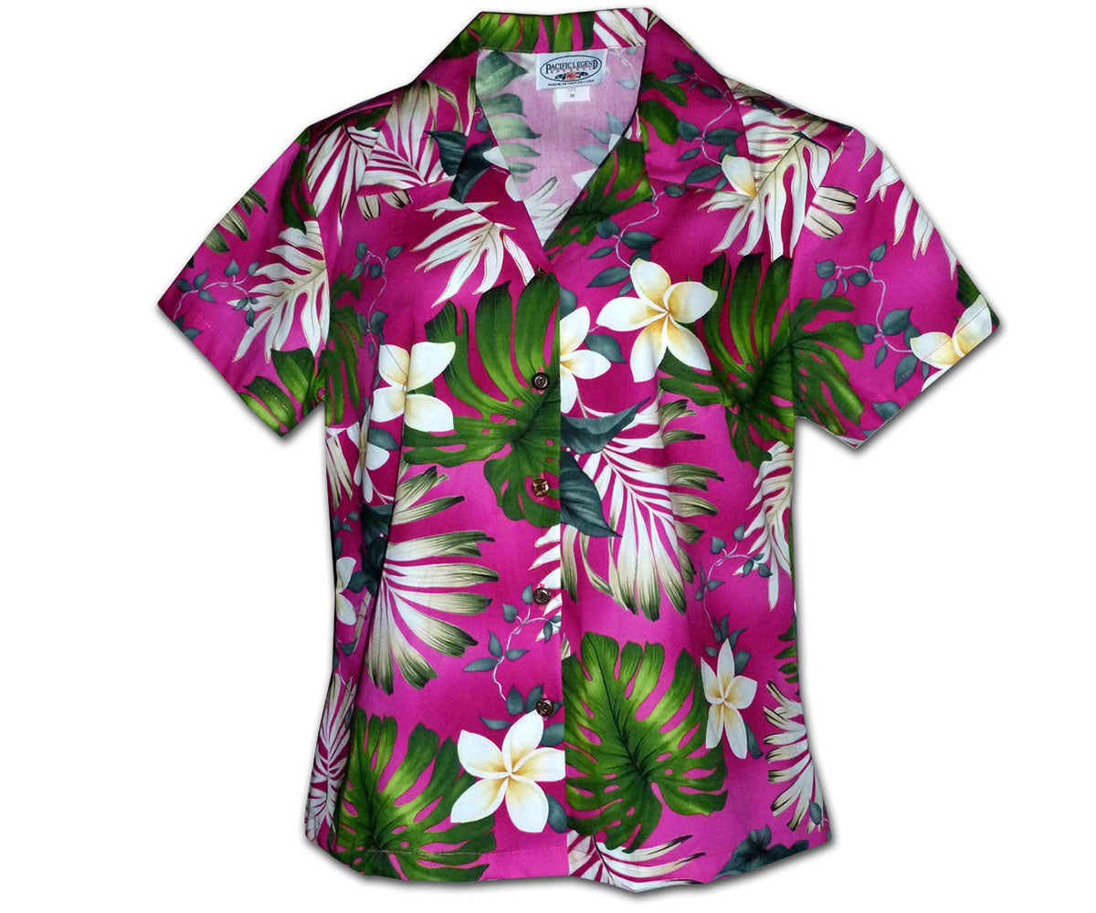 Monstera Monster Pink Fitted Women's Hawaiian Shirt
