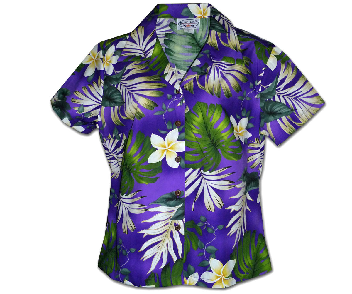 Monstera Monster Purple Fitted Women's Hawaiian Shirt
