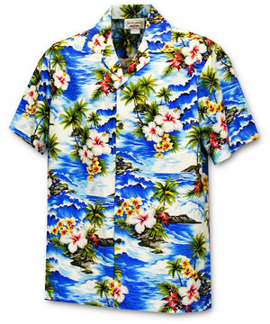 Diamond Head Coast Blue Hawaiian Shirt
