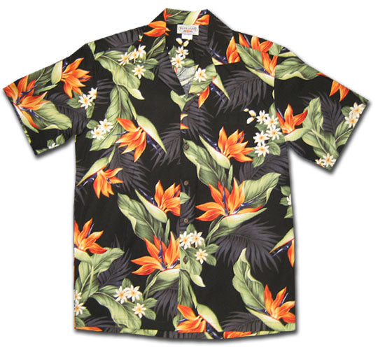 Bird of Paradise Valley Black Hawaiian Shirt