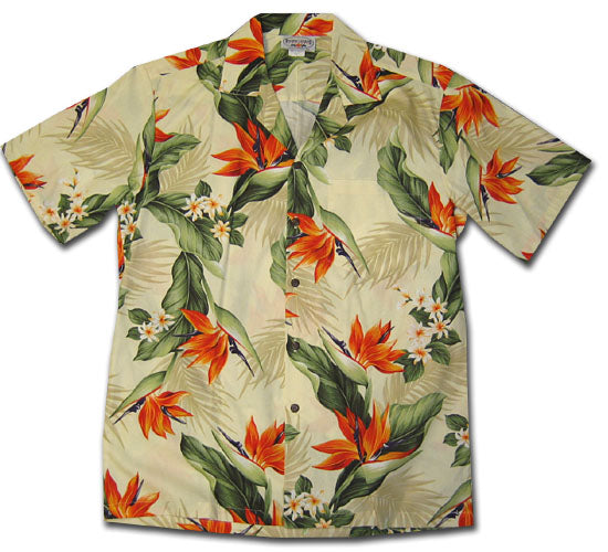 Bird of Paradise Valley Cream Hawaiian Shirt