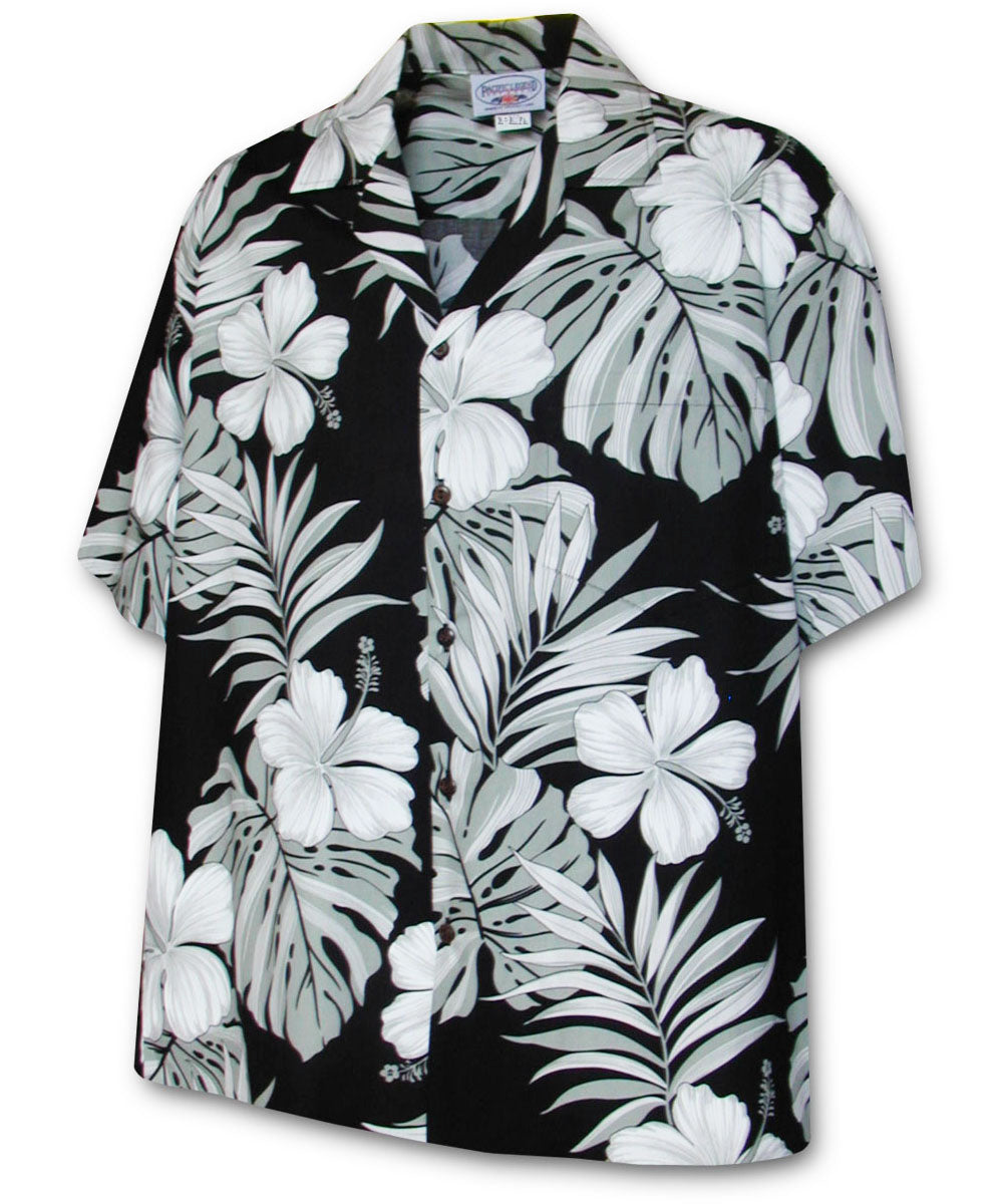 Super Hibiscus Black Hawaiian Shirt
