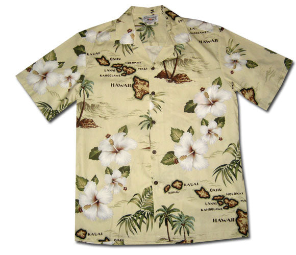 Islands of Hawaii Khaki Aloha Shirt