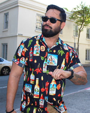 Hot Sauce Hero Black Hawaiian Shirt