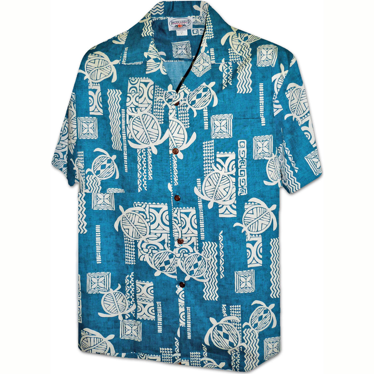 Turtle Tattoo Teal Hawaiian Shirt
