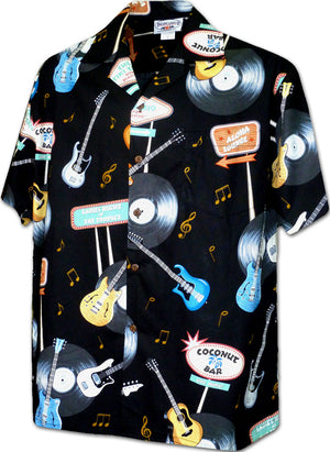 Vinyl Rock Black Hawaiian Shirt