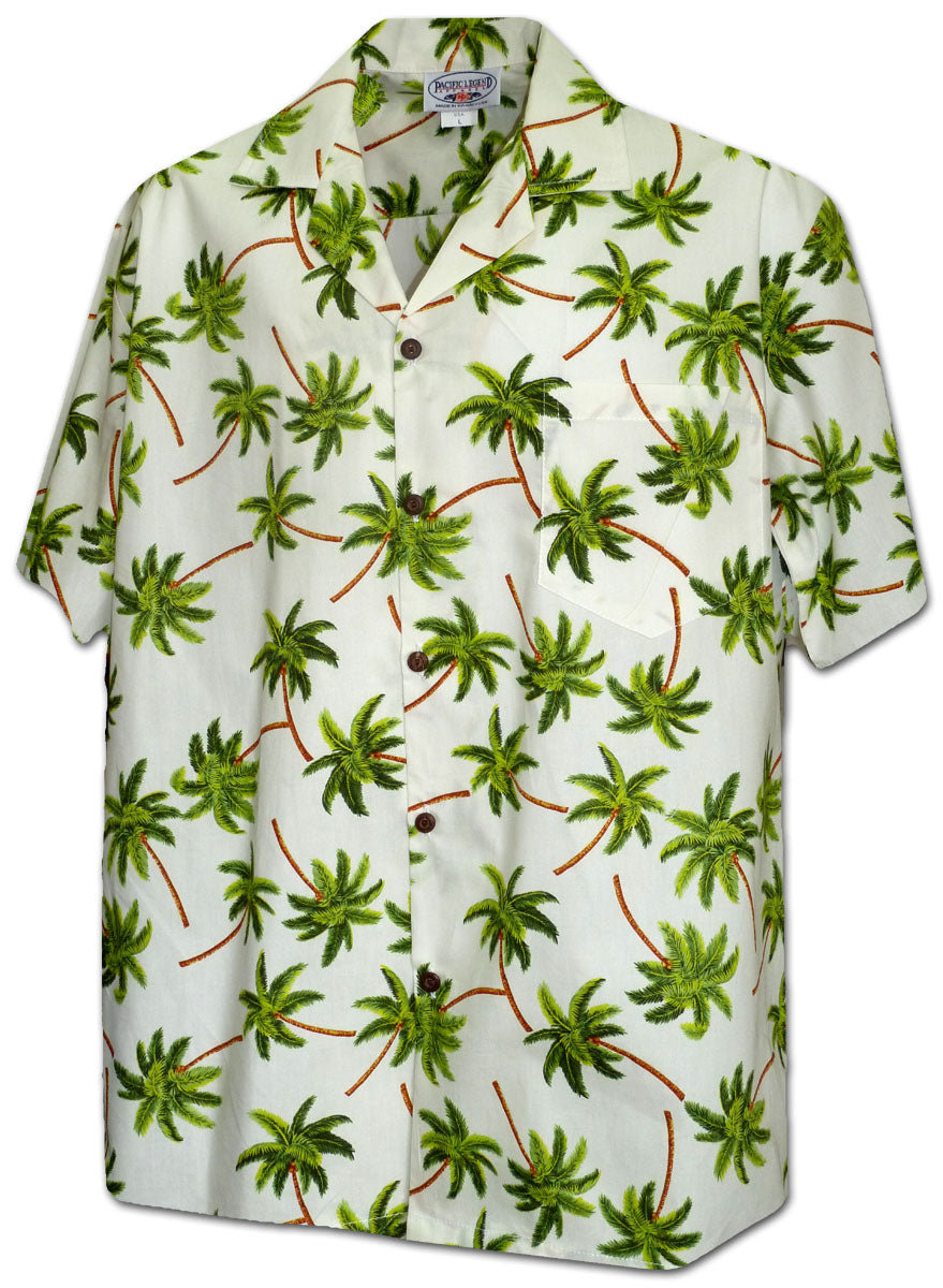 Windy Palms Ivory Hawaiian Shirt