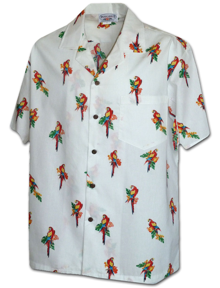 Micro Macaws White Hawaiian Shirt
