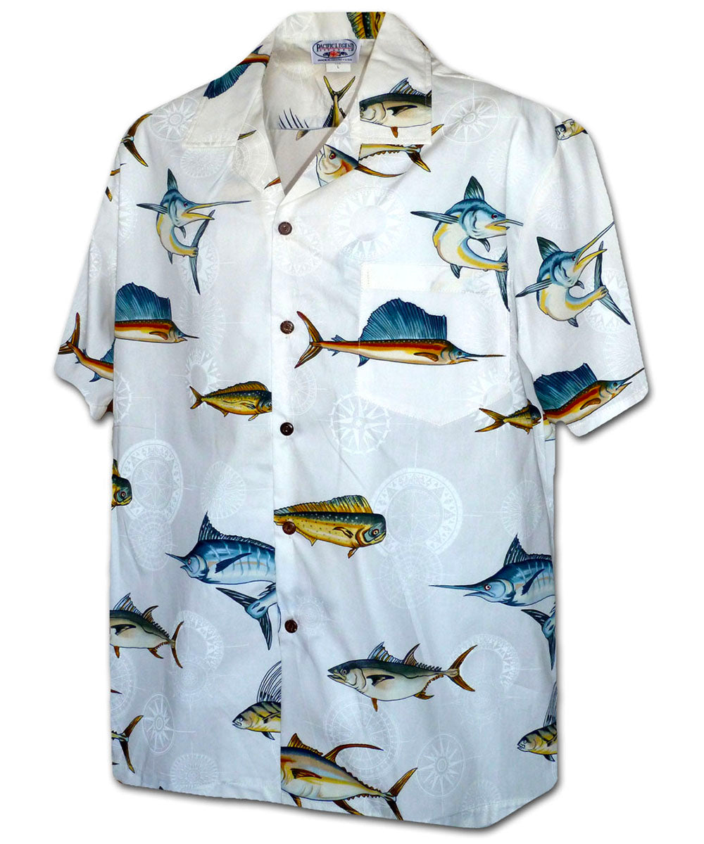 Deep Sea Fishing White Hawaiian Shirt