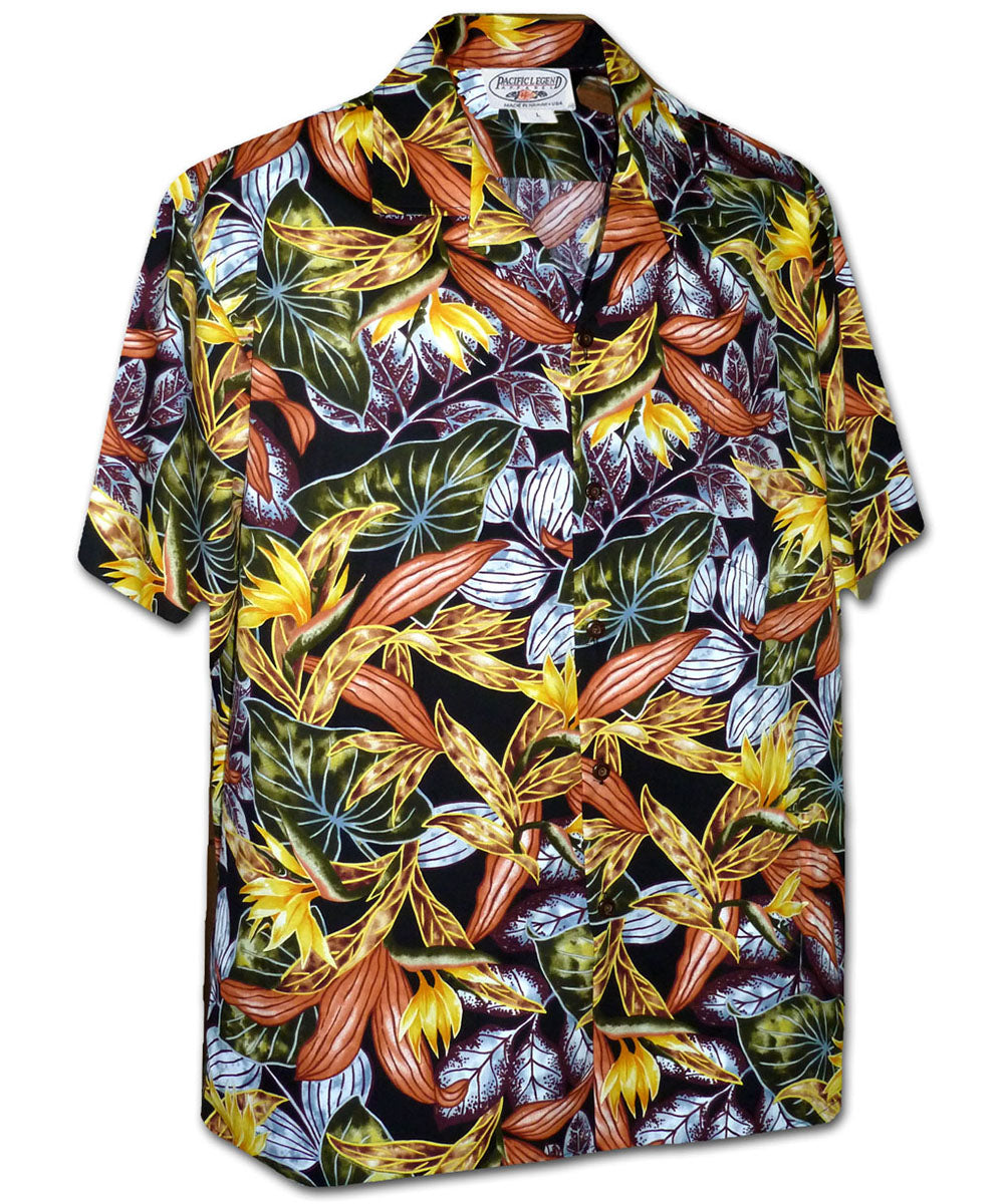 Tropical Heat Black Hawaiian Shirt