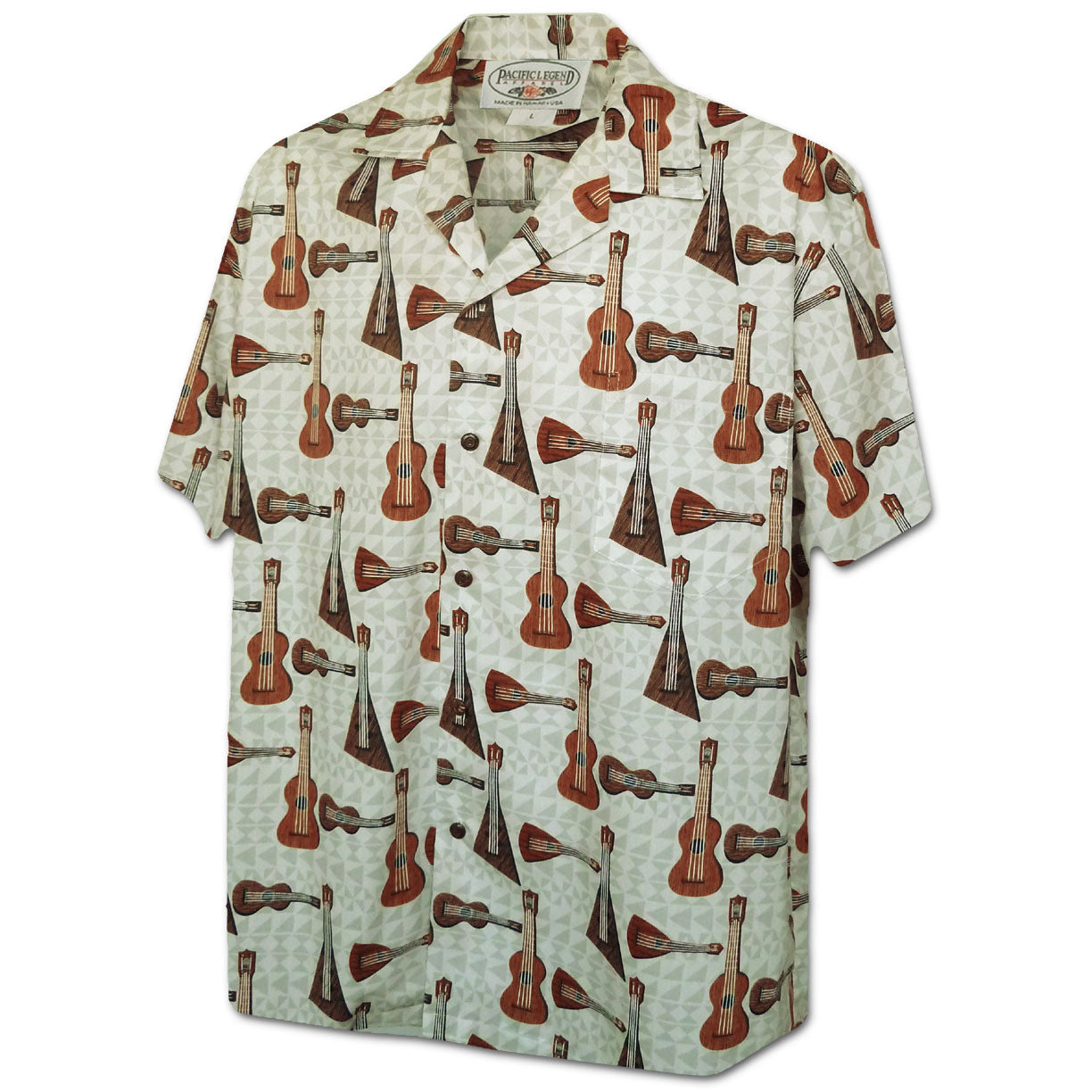 Ukulele Jamster Cream Hawaiian Shirt