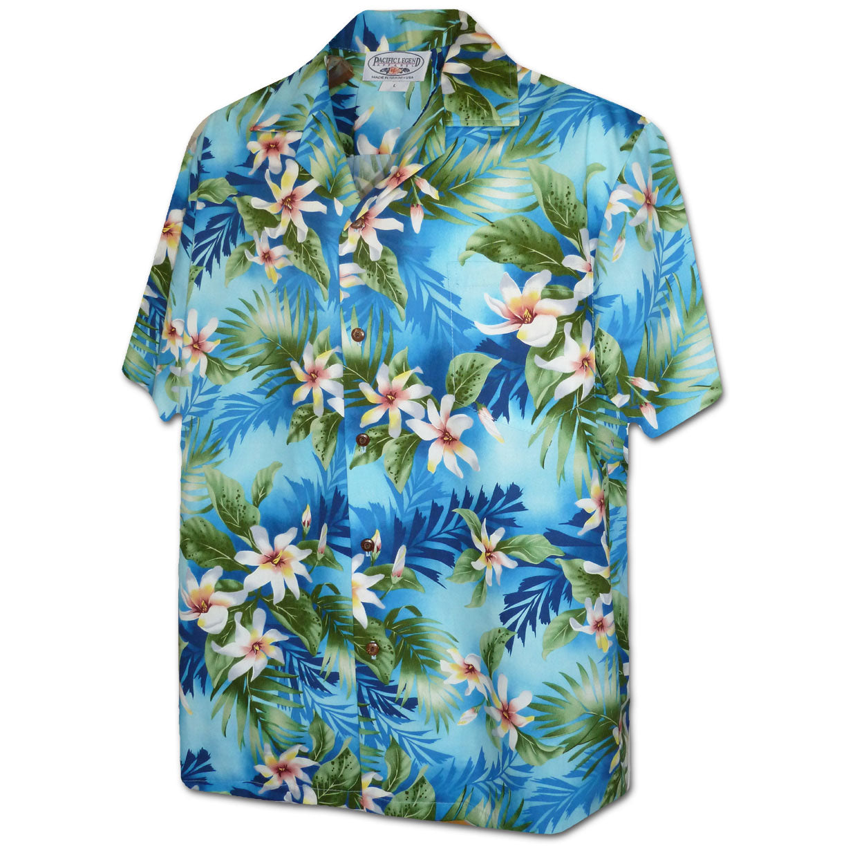 Vibrant Flower Blue Hawaiian Shirt