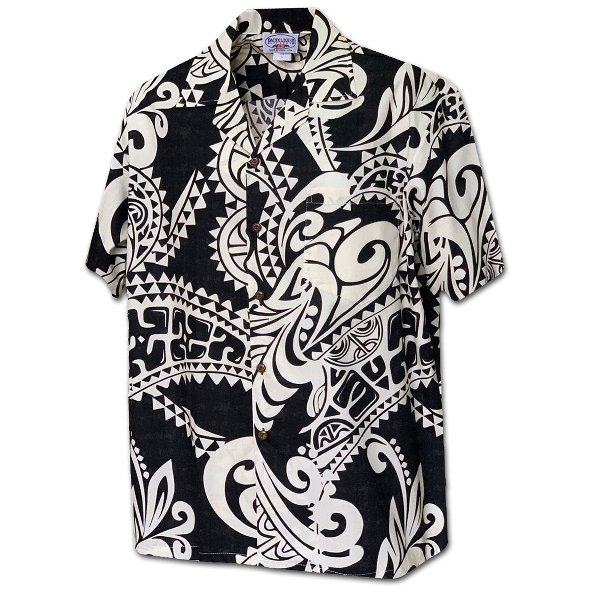Island Legends Black Hawaiian Shirt