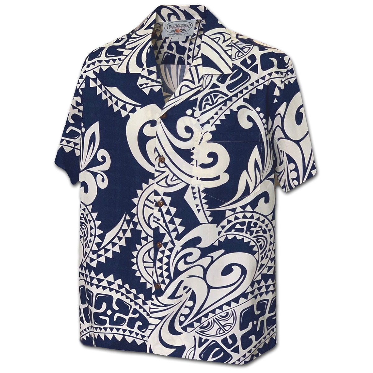 Island Legends Navy Hawaiian Shirt