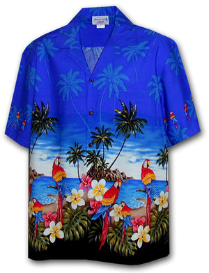 Macaw Madness Blue Hawaiian Shirt