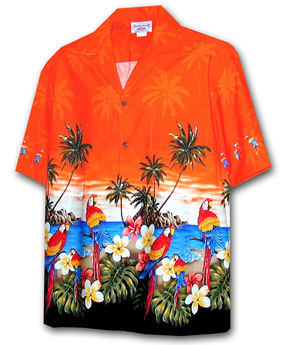 Macaw Madness Orange Hawaiian Shirt