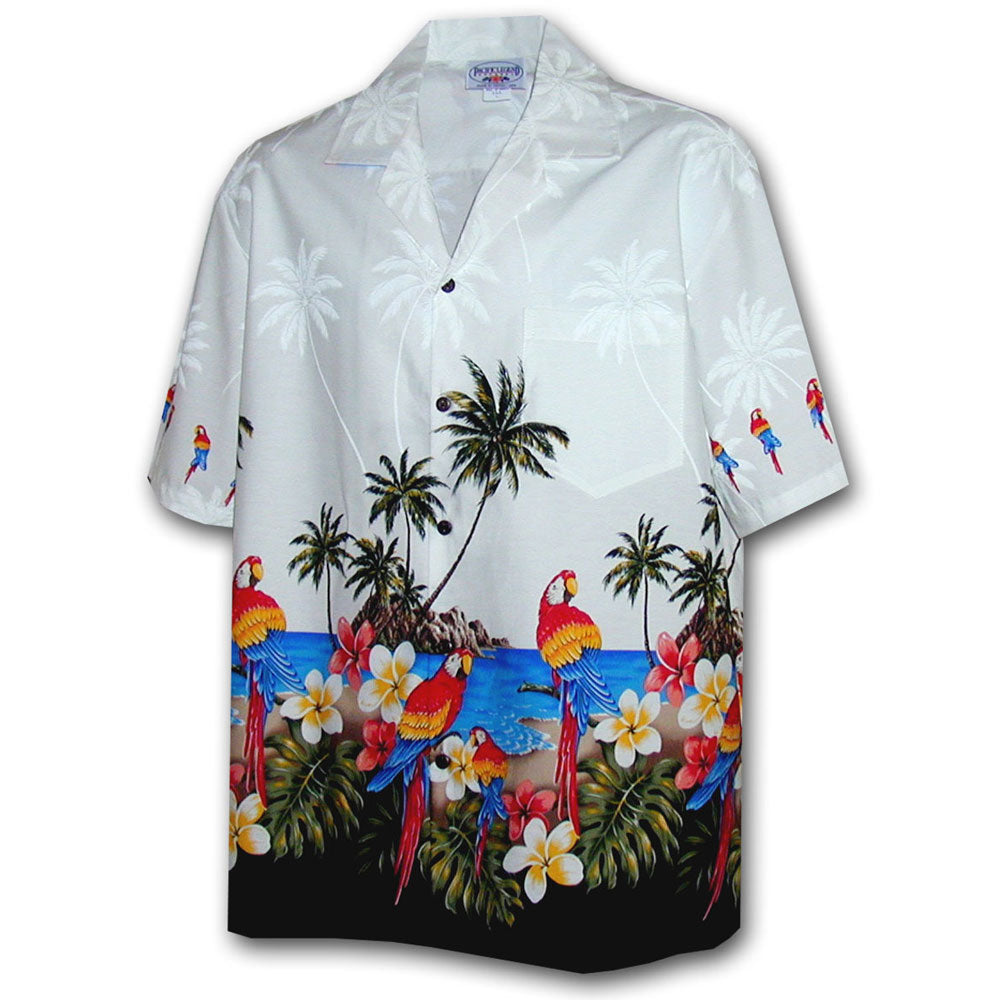 Macaw Madness White Hawaiian Shirt