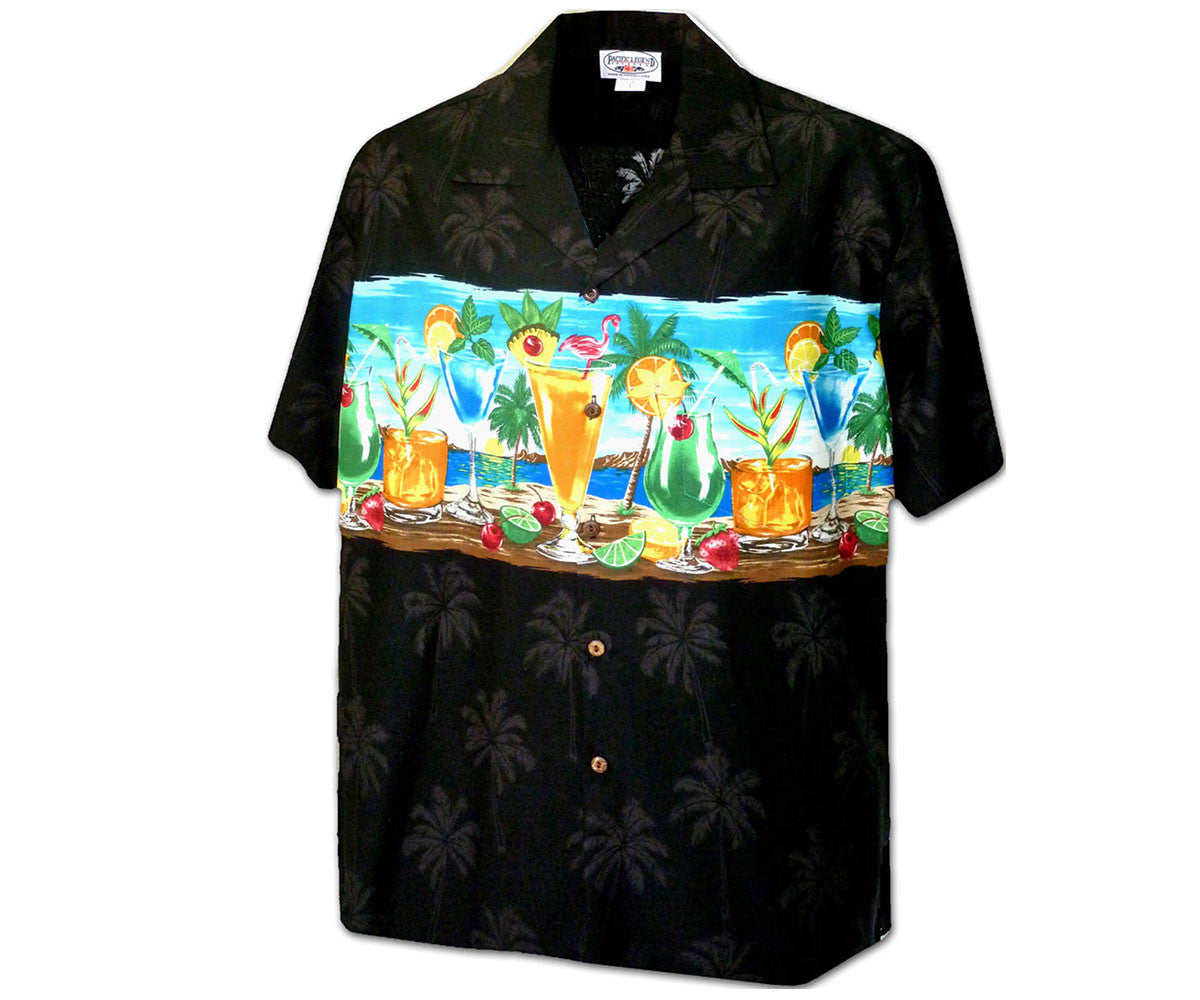 Cocktails on the Beach Black Hawaiian Shirt