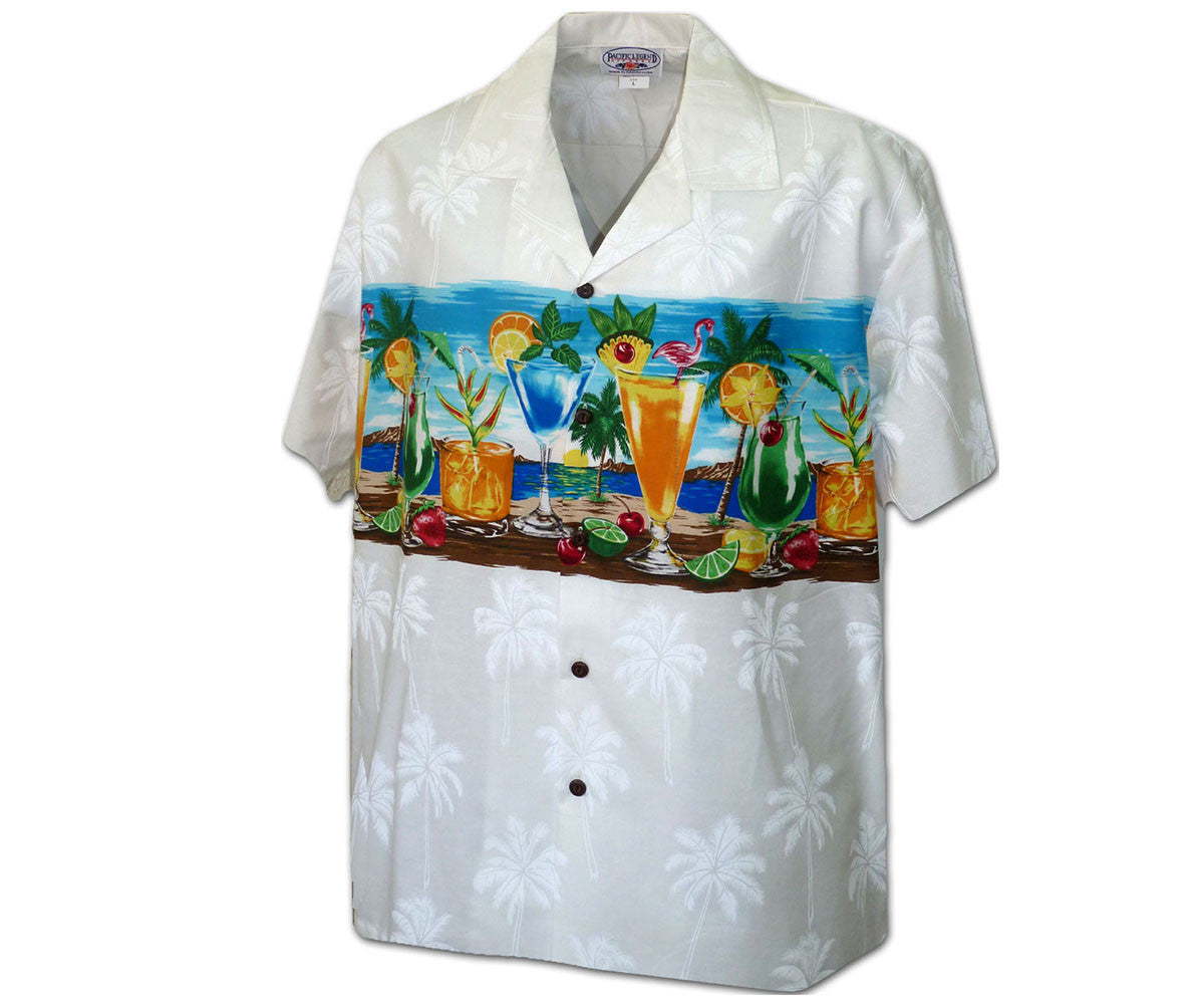Cocktails on the Beach White Hawaiian Shirt