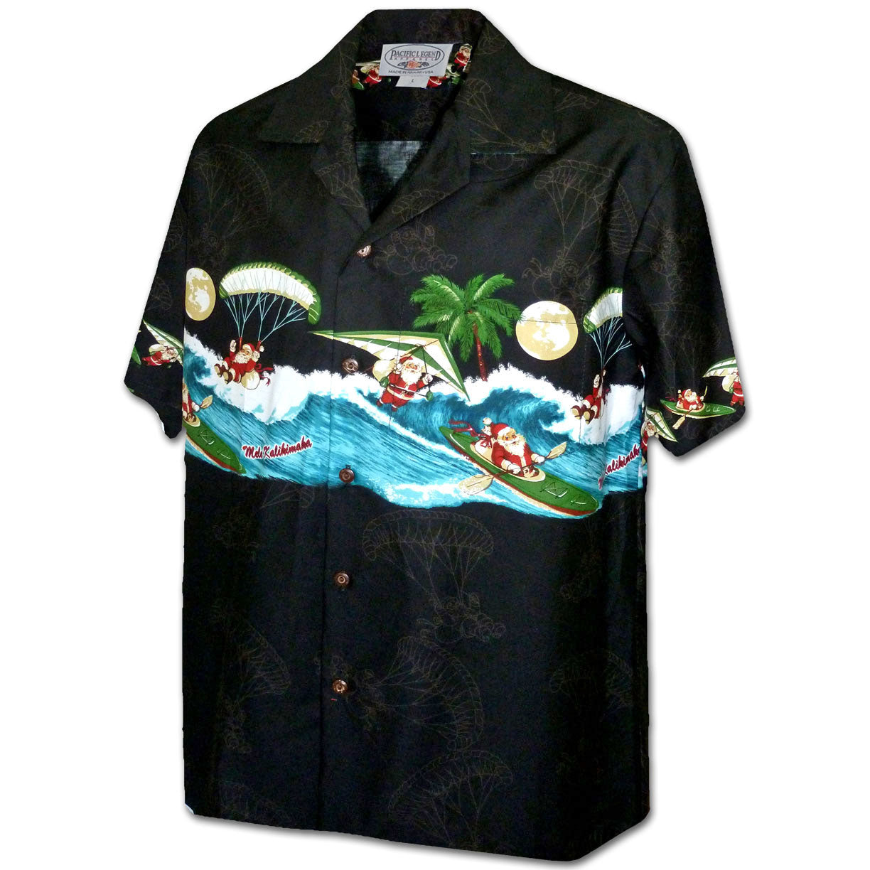 Hang Gliding Santa Black Hawaiian Shirt