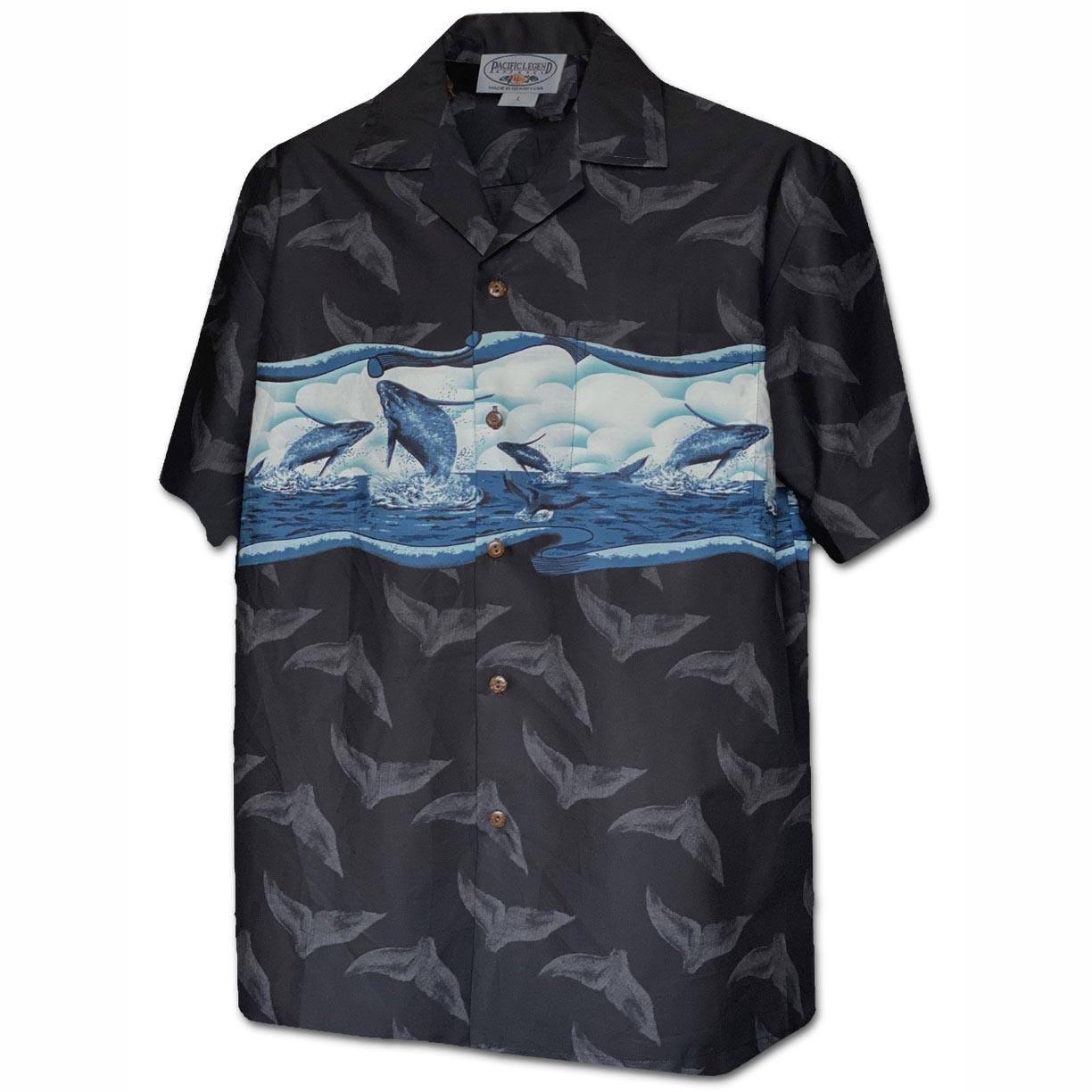 Breaching Whales Black Hawaiian Shirt