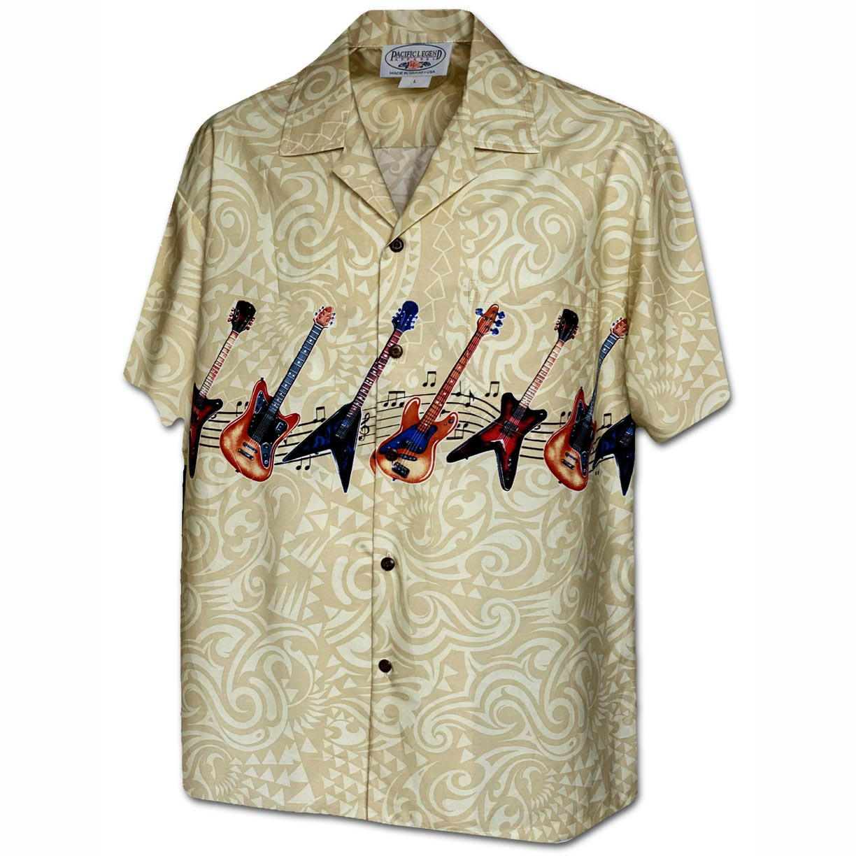 Rockin' Guitar Khaki Hawaiian Shirt